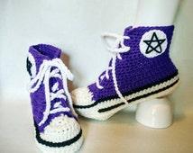 566119dcbcd1c taille adulte crochet motif pantoufle converse taille adulte crochet motif  pantoufle converse ...