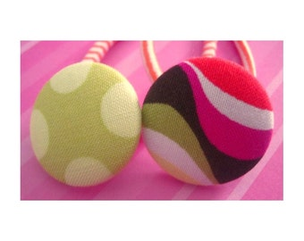 Big dots and Modern Print set of 2 button Ponytail Holders