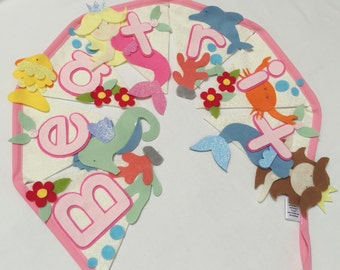 Mermaid under the sea sparkle bunting decoration