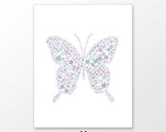 Butterfly nursery wall art, pastel purple, violet, lavender girls room decor, digital image x62 185 5737