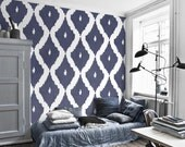 Self adhesive vinyl temporary removable wallpaper, wall decal - Ikat pattern  - 041