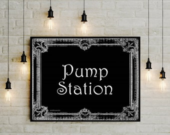 Lactation printable sign, Pump station DIY digital breastfeeding room poster, Black White baby shower gift, office nursing sign, jpg pdf png