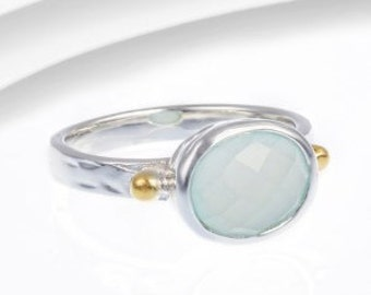 Aqua chalcedony ring, gemstone ring, birthstone ring, sterling silver ring, gold ring, sea green ring, faceted chalcedony ring
