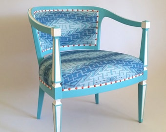 Custom Textile Design & Upholstered Vintage Accent Chair