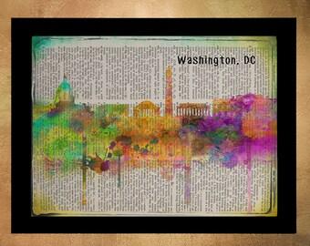 Washington DC Skyline Dictionary Art Print, Capitol Decor Wall Congress White House Art Home Decor Art da1012