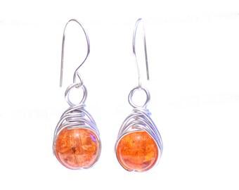 Orange earrings,  glass earrings,  silver earrings,  wire wrap earrings,  orange wire earrings, earrings