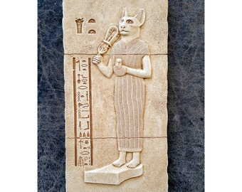 """History Egyptian Bastet Sculptural wall relief  www.Neo-Mfg.com 11"""""""