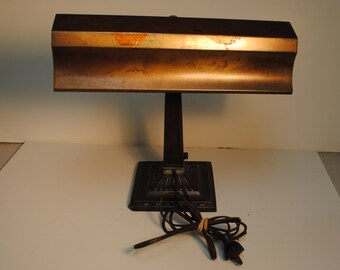 Vintage Retro Art Deco Industrial Desk Lamp, Brass Finish NEEDS CLEANING