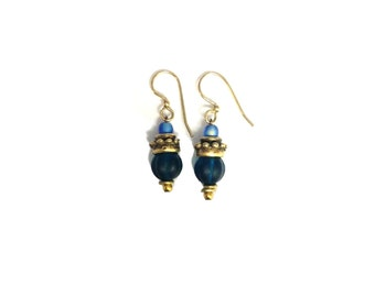 Glass Dangle Artisan Gold Earrings