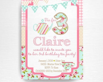 Tea Party Printable Invitation YOU Print Tea for Three Pink Blue Floral