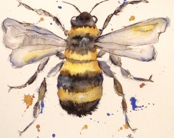 Watercolour Painting - bee Painting - insect Painting - Watercolour Print - Bee Print - Wildlife Print - Bee Decor - Art Print