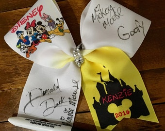 Character autograph cheer bow