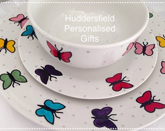 Rainbow Butterfly dinner set - personalised