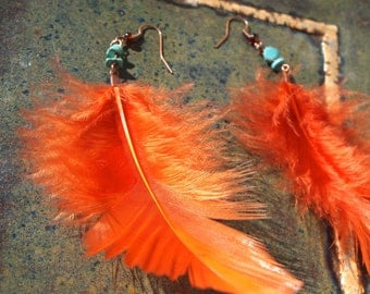 Orange feather earrings with turquoise beads