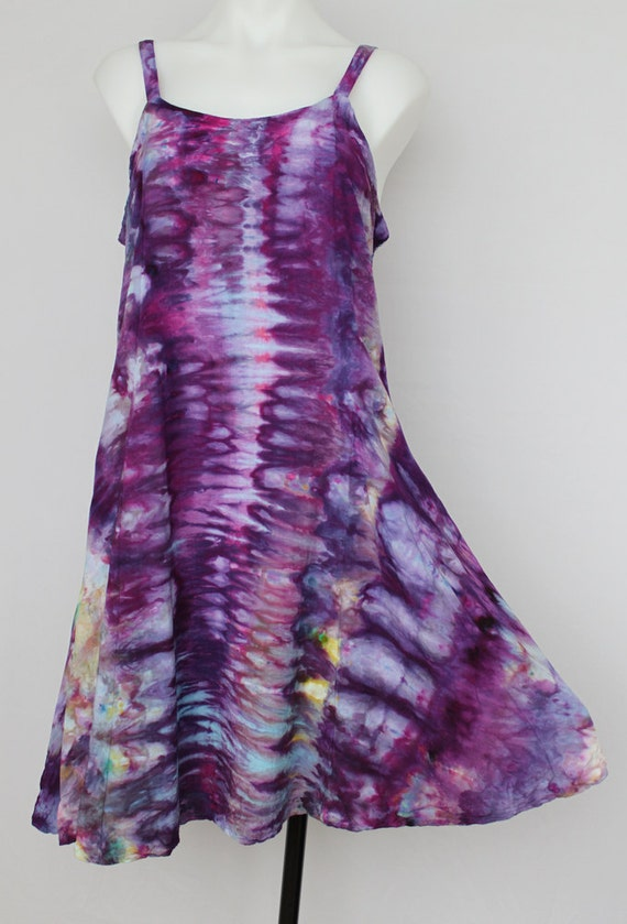 tie dye rayon sun dress summer dress dyed size medium