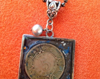 Resin, foreign coin necklace