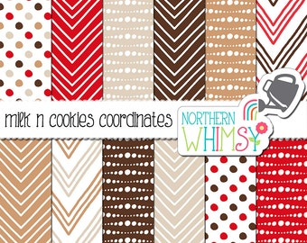 """Christmas Digital Paper - """"Milk n Cookies Coordinates"""" - chevron and polka dots in red & brown to match the Milk and Cookies for Santa set"""