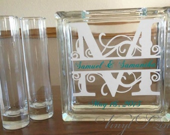 Monogram Unity Sand Ceremony Set - Glass Unity Set with Monogram, Names, and Date - SU-1003