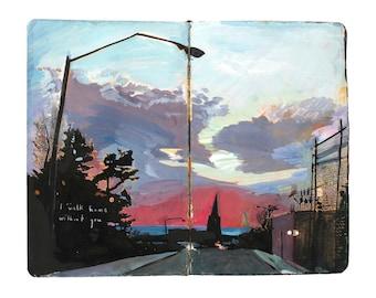 "Fine Art Print - Original New York Cityscape Painting from Artist Travel Journal - ""My Walk Home in Brooklyn"""