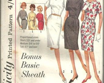 Vintage sewng Pattern. Simplicity 5324. Basic dress pattern.
