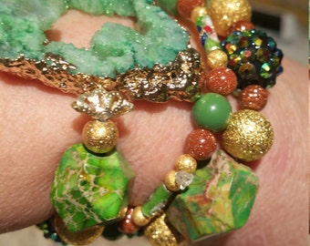 Womens stackable bracelets turquoise druzy green gold stretchy
