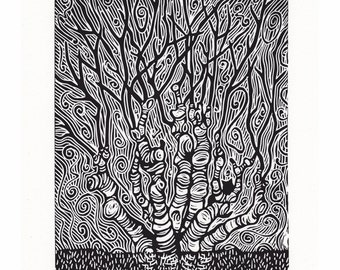 Tree Lino Print - 'The Changing Tree' by Jennifer Rampling