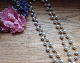 Antique faux pearl extra long multi wrap necklace