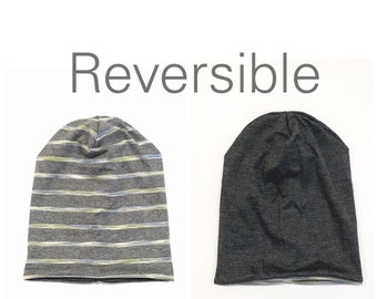 SALE- Baby Toddler Jersey Grey Striped Reversible Slouchy Beanie Hat