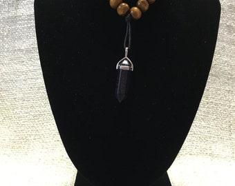Blue Sunstone Reiki Healing Crystal Necklace