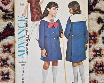 Vintage 1960s Advance girl's dress pattern 3518 size 8 new uncut