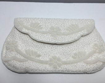 Vintage Wedding Clutch, White Beaded Clutch White Purse