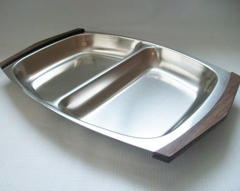 Rostfritt Stal Stainless Steel Serving Tray, Vintage Mid Century Sectioned Serving Platter with Wood Handles, Sweden