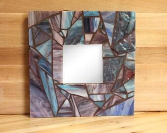 Handmade Blue and Purple Mosaic Mirror