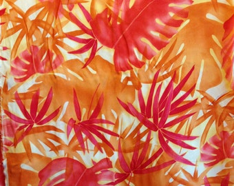 Red and Orange Tropical Chiffon Fabric-By-The-Yard