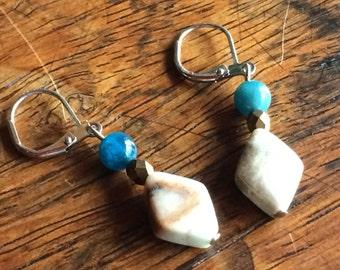 3932 - amazonite and turquoise Earrings