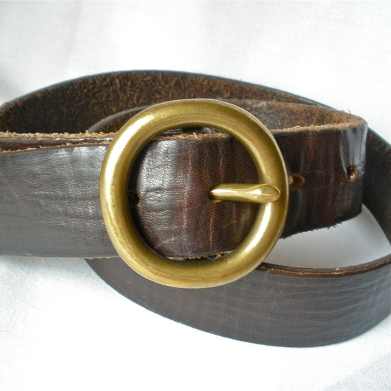 mens leather belt brown 1970s womens unisex brass buckle