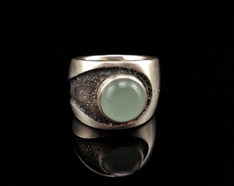 Men's Aquamarine Ring - Hefty Heavy Wide Band Fertility Ring - Sterling Silver and Aquamarine Heavy Wide Band Ring