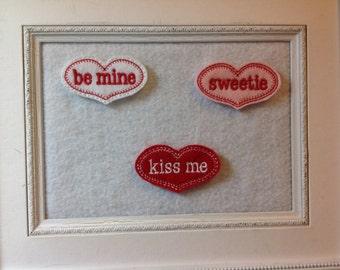 Valentine Feltie, Kiss Me Feltie, Be Mine Feltie, Sweetie Feltie  Your Choice