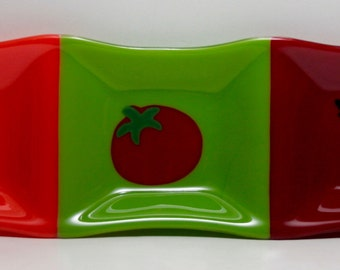 Handmade Fused Glass Relish Tray with Tomato, Carrot & Pea Pod