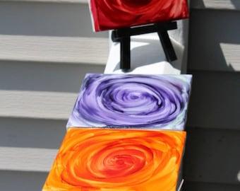 Alcohol Ink Ceramic Tile Coasters Set of 4 Design 12