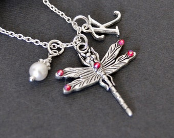 Ruby Dragonfly Necklace, Sterling Necklace, Initial Necklace, Birthstone Necklace, Girls Charm Necklace, Initial Jewelry, Girls Necklace
