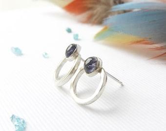 Open circle earrings- Blue gemstone earrings- Geometric earrings- Iolite studs- Iolite earrings- Ethical jewellery- Silver studs- Gift