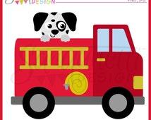 Fire Truck clipart, transportation clipart, dalmatian clipart, instant download