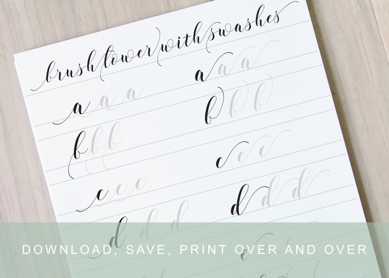 Brush lettering worksheet calligraphy swashes learn