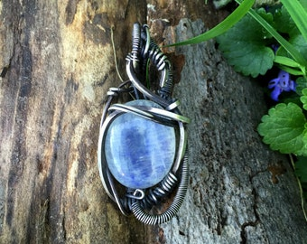 Silver and Moonstone Wire Wrap Pendant