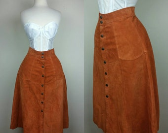 70s Suede Skirt Rust Brown S