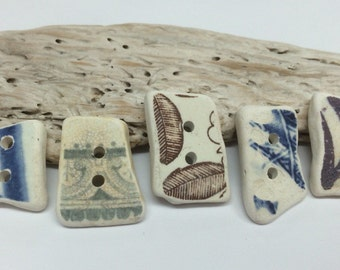 Small hand made,Scottish Sea Pottery Buttons  B 29.1.16.3