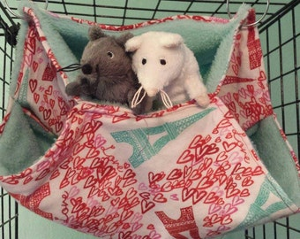 "Valentine's day themed three level ""honeycomb"" hammock for a rat or other small animal."