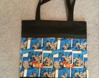 Batman Tote Bag, Black Canvas Bag, Book Bag, Overnight Bag, Toy Bag, Great Gift Idea !
