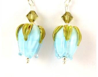 Baby Blue Rosebud Earrings